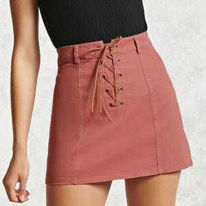 forever 21 lace up skirt